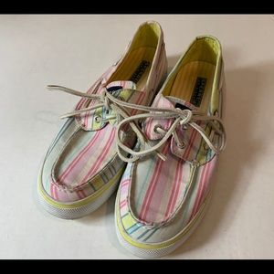 Sperry Top-Sider Pastel Striped Canvas Boat Shoes